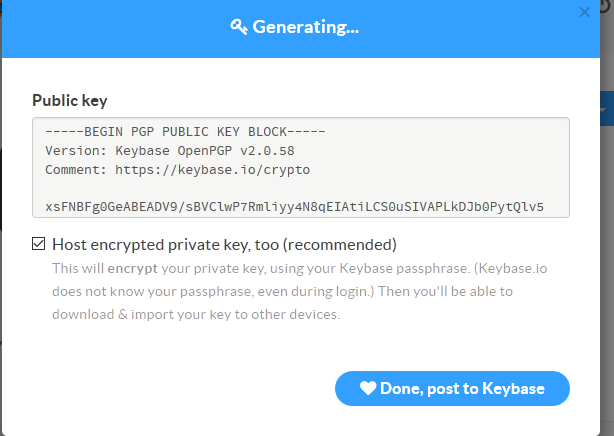 finished generating pgp key